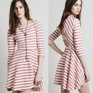 Free People Striped Cut Out Back Skater Dress
